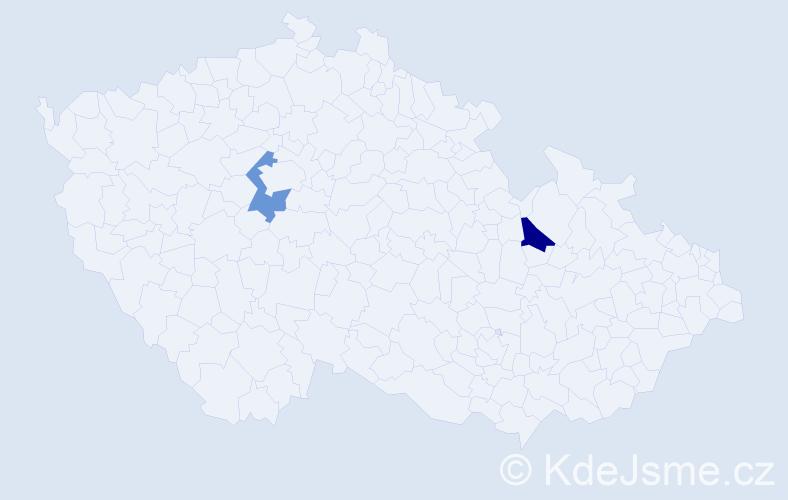 Příjmení: 'Bagínová', počet výskytů 2 v celé ČR