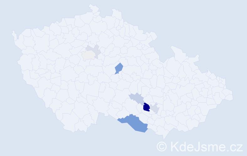 Příjmení: 'Čertek', počet výskytů 23 v celé ČR