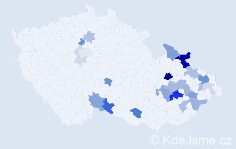 Příjmení: 'Houžva', počet výskytů 66 v celé ČR