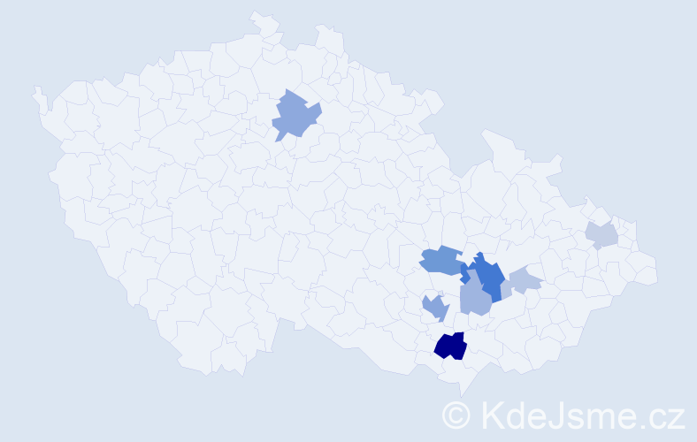 Příjmení: 'Julinek', počet výskytů 23 v celé ČR