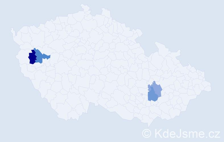 Příjmení: 'Empergerová', počet výskytů 9 v celé ČR
