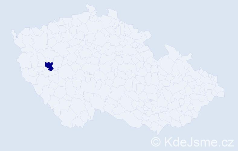 """Příjmení: '""""Kadlec Valentová""""', počet výskytů 1 v celé ČR"""