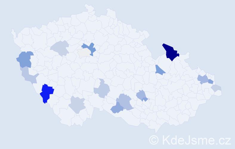 Příjmení: 'Galo', počet výskytů 45 v celé ČR