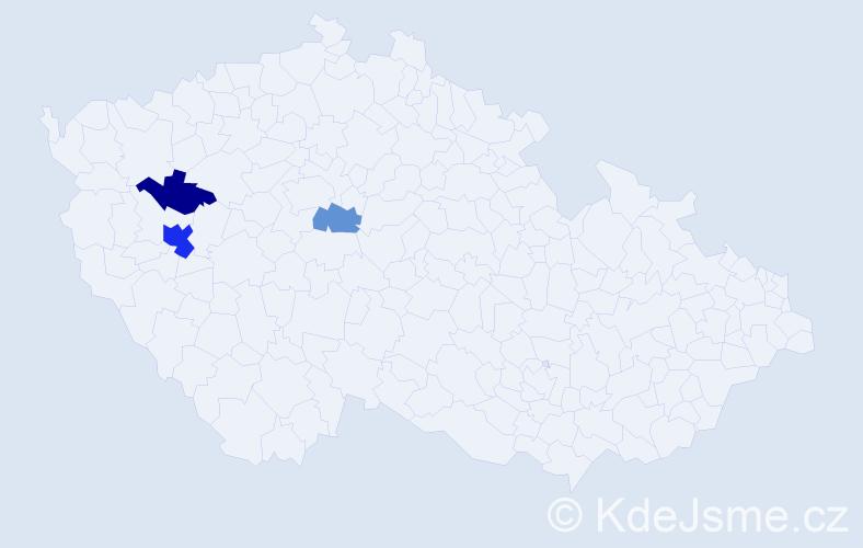 Příjmení: 'Kosner', počet výskytů 6 v celé ČR