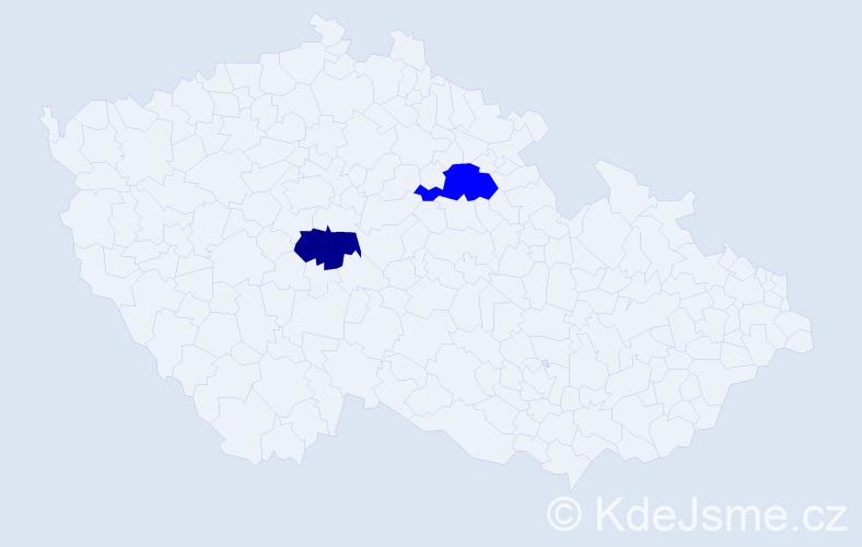 Příjmení: 'Bitarovcová', počet výskytů 5 v celé ČR