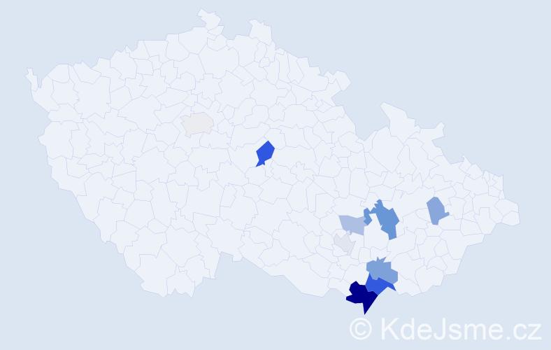 Příjmení: 'Hunkař', počet výskytů 25 v celé ČR