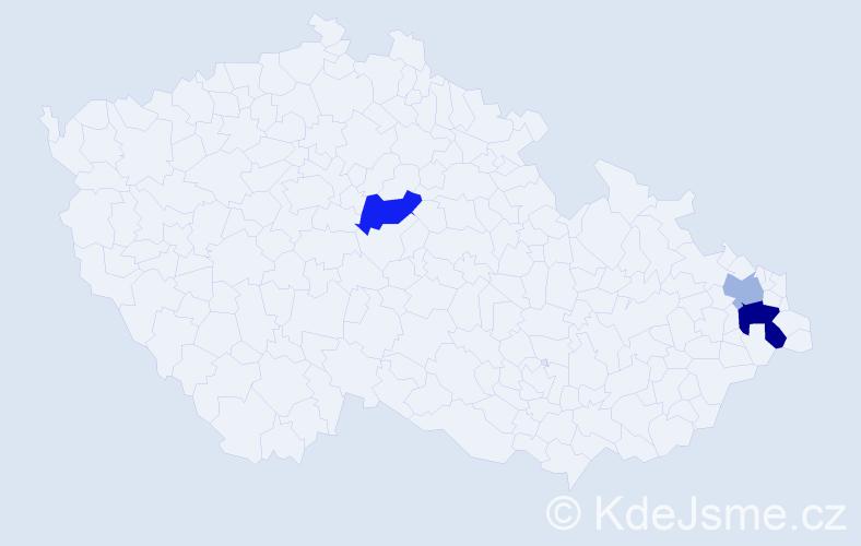 Příjmení: 'Břežek', počet výskytů 10 v celé ČR