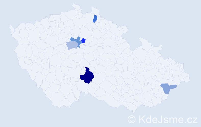 Příjmení: 'Gecková', počet výskytů 15 v celé ČR