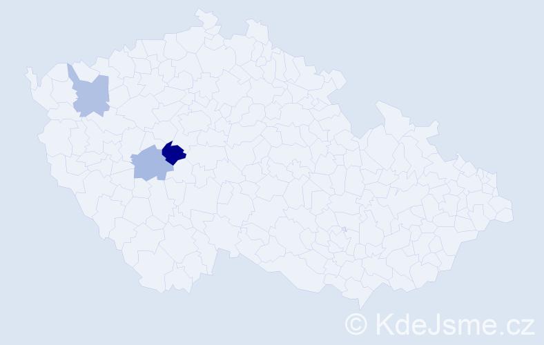 Příjmení: 'Grygharová', počet výskytů 4 v celé ČR