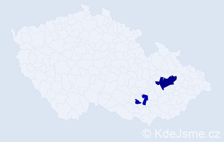 Příjmení: 'Lázniček', počet výskytů 6 v celé ČR