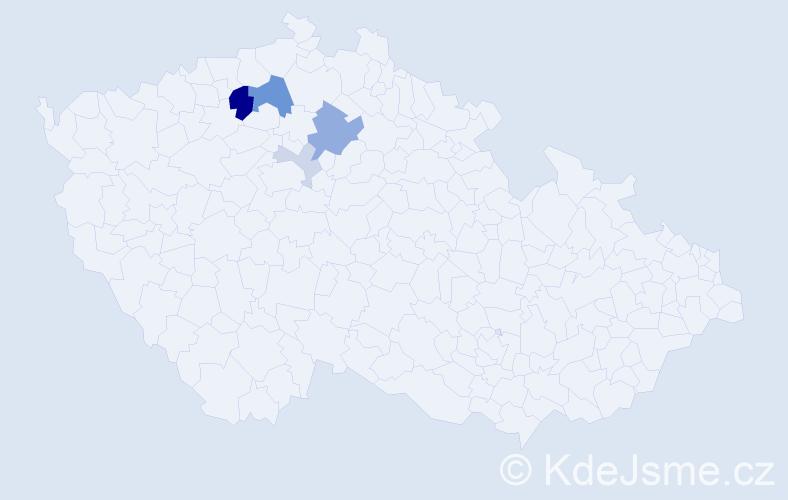 Příjmení: 'Kostraba', počet výskytů 13 v celé ČR