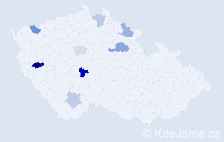 Příjmení: 'Hanš', počet výskytů 12 v celé ČR