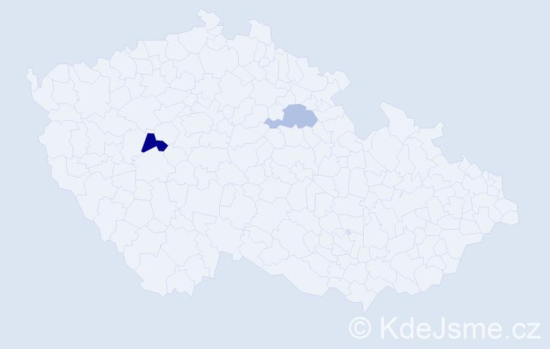 Příjmení: 'Hoker', počet výskytů 9 v celé ČR