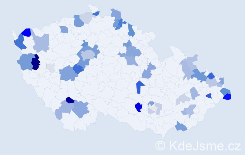 Příjmení: 'Kušnírová', počet výskytů 124 v celé ČR