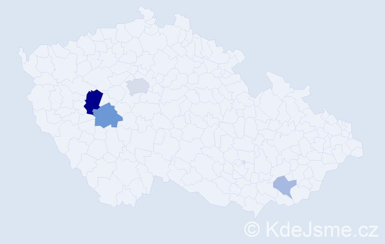 Příjmení: 'Huzinec', počet výskytů 10 v celé ČR