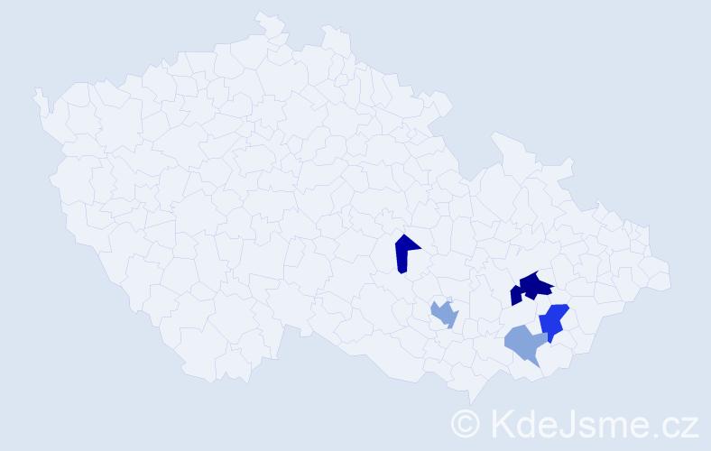 Příjmení: 'Evanžin', počet výskytů 12 v celé ČR