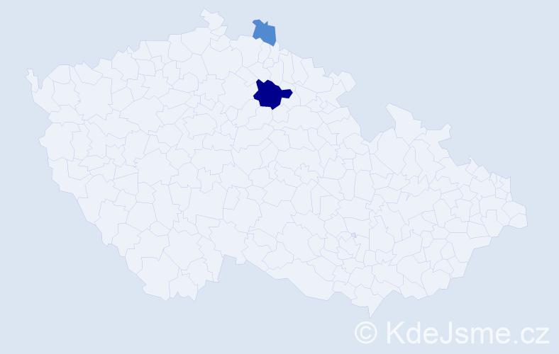 Příjmení: 'Balcár', počet výskytů 5 v celé ČR