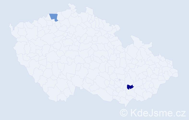 Příjmení: 'Káder', počet výskytů 6 v celé ČR