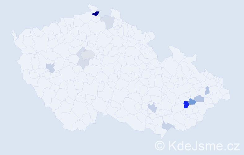Příjmení: 'Bubílková', počet výskytů 24 v celé ČR