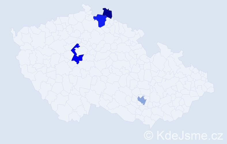 Příjmení: 'Kedaj', počet výskytů 9 v celé ČR