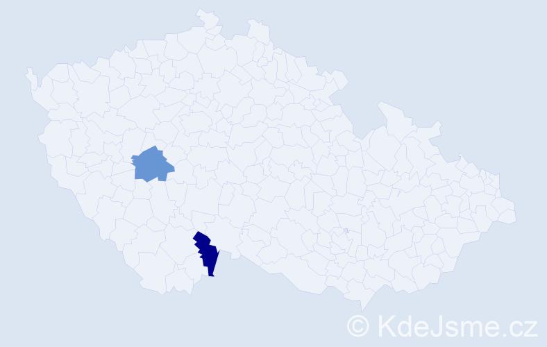 Příjmení: 'Čuháková', počet výskytů 2 v celé ČR