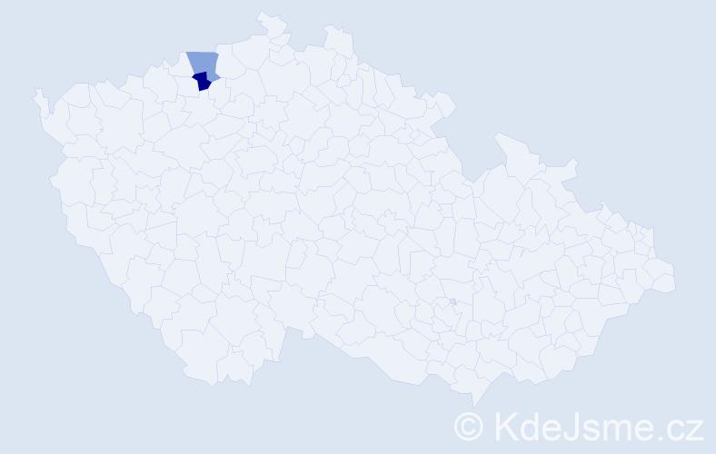 Příjmení: 'Láza', počet výskytů 4 v celé ČR