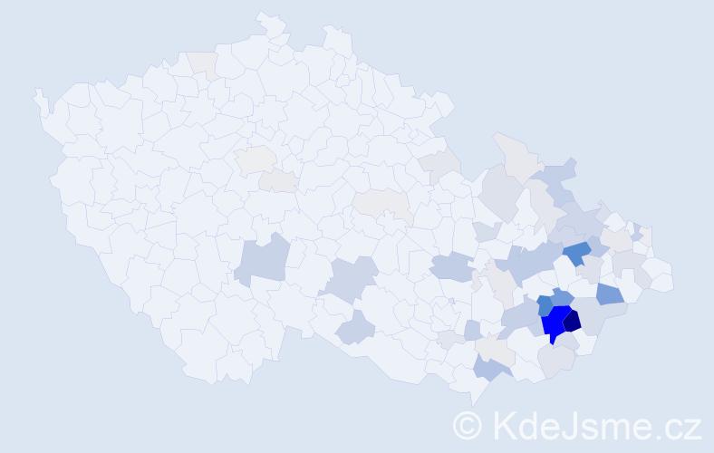 Příjmení: 'Dlabaja', počet výskytů 226 v celé ČR
