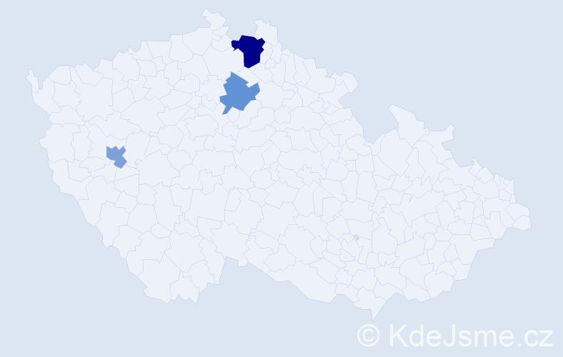 Příjmení: 'Dezsöová', počet výskytů 5 v celé ČR