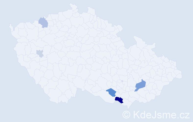 Příjmení: 'Démková', počet výskytů 7 v celé ČR