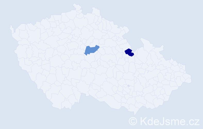 Příjmení: 'Dec', počet výskytů 6 v celé ČR