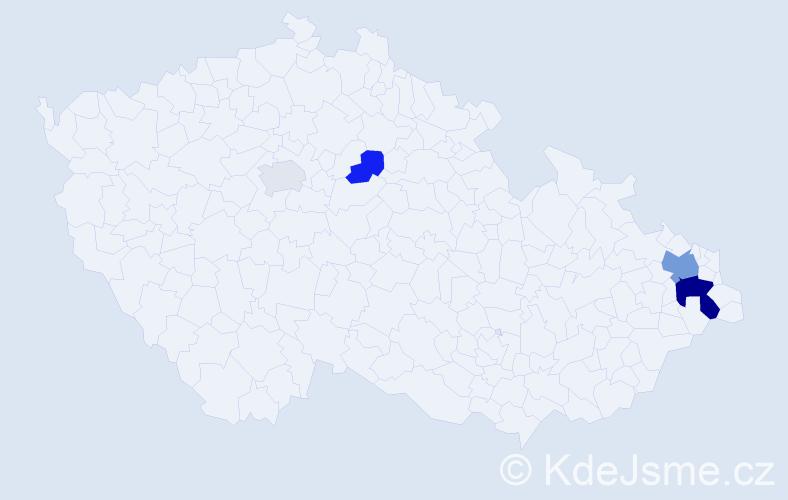 Příjmení: 'Bajorová', počet výskytů 9 v celé ČR