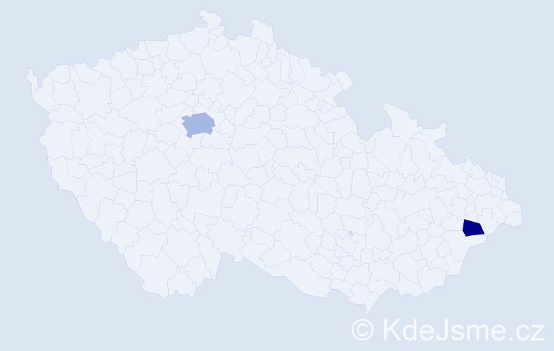 Příjmení: 'Gregov', počet výskytů 4 v celé ČR