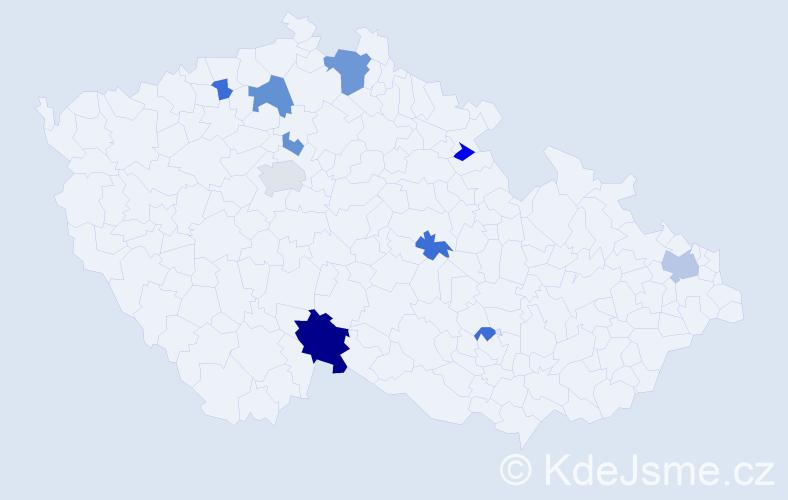 Příjmení: 'Hospodář', počet výskytů 18 v celé ČR