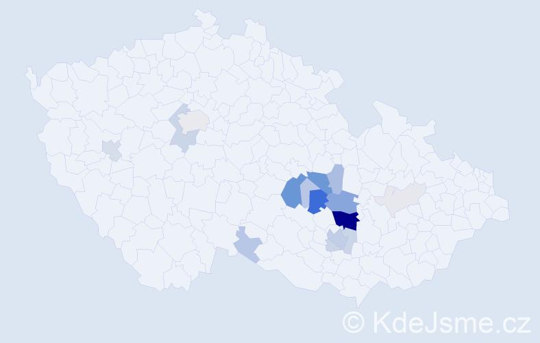 Příjmení: 'Čípek', počet výskytů 72 v celé ČR