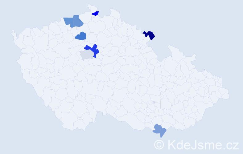 Příjmení: 'Černucká', počet výskytů 13 v celé ČR