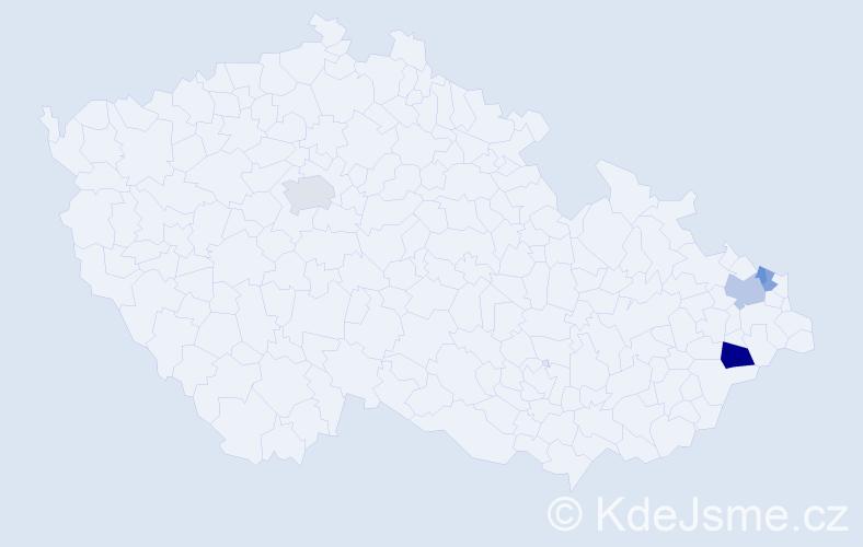 Příjmení: 'Bos', počet výskytů 9 v celé ČR