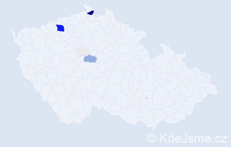 Příjmení: 'Ihracká', počet výskytů 9 v celé ČR
