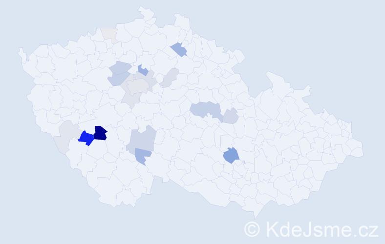 Příjmení: 'Frýzek', počet výskytů 57 v celé ČR