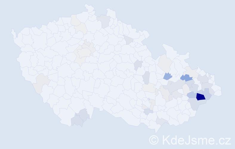Příjmení: 'Blinka', počet výskytů 211 v celé ČR
