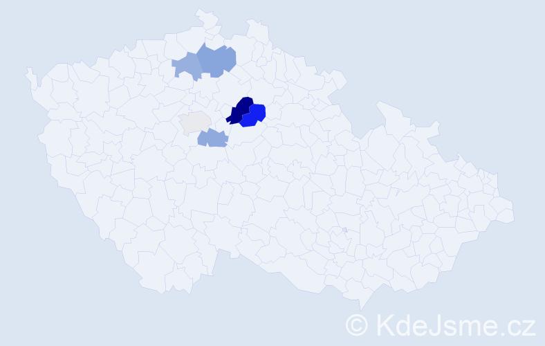 Příjmení: 'Caňkářová', počet výskytů 20 v celé ČR