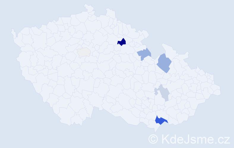 Příjmení: 'Kominácká', počet výskytů 14 v celé ČR