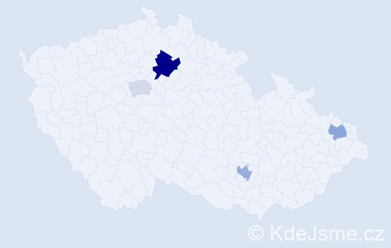 Příjmení: 'Drak', počet výskytů 5 v celé ČR