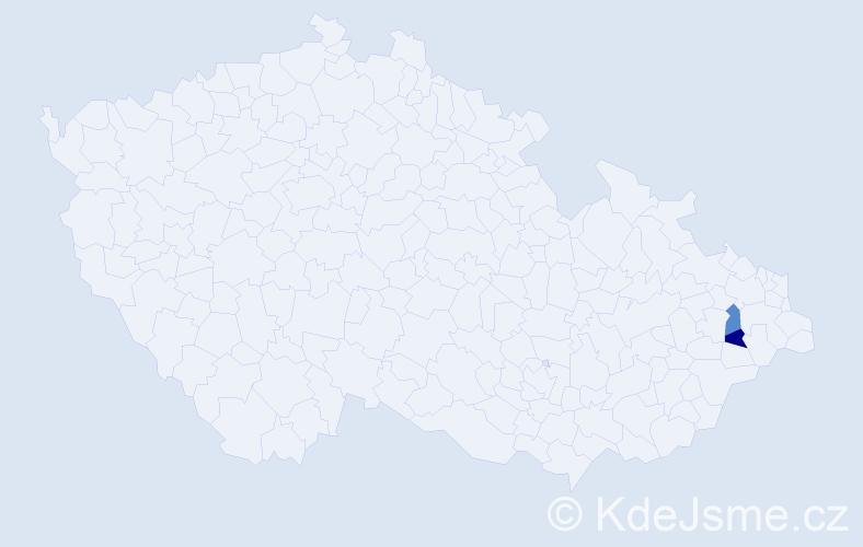 Příjmení: 'Golalová', počet výskytů 2 v celé ČR