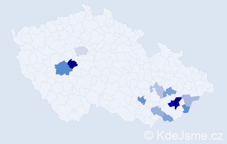 Příjmení: 'Jugasová', počet výskytů 36 v celé ČR