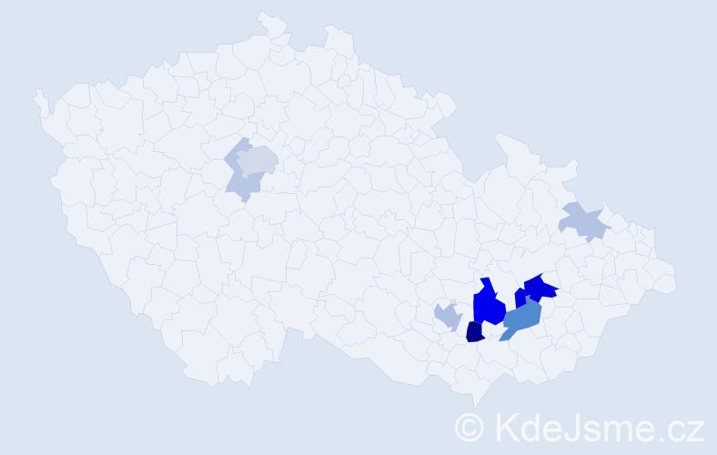 Příjmení: 'Gája', počet výskytů 24 v celé ČR