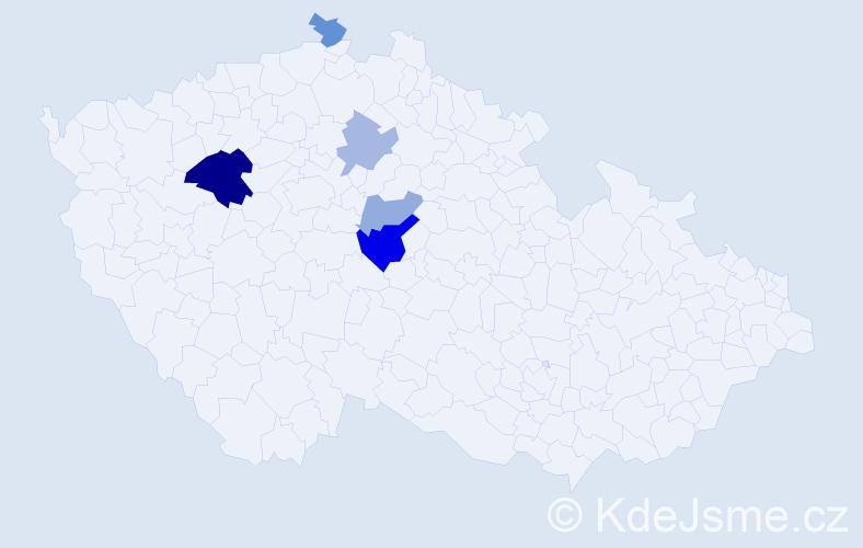 Příjmení: 'Izajová', počet výskytů 10 v celé ČR