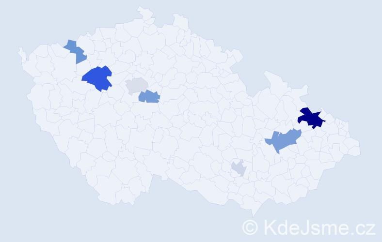 Příjmení: 'Keder', počet výskytů 14 v celé ČR