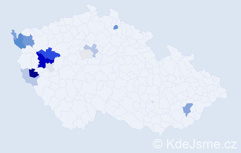 Příjmení: 'Drofová', počet výskytů 39 v celé ČR