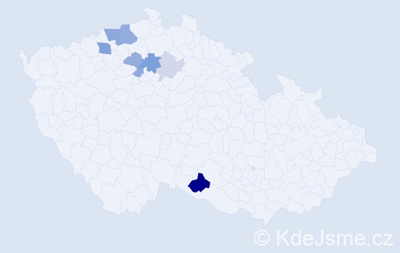 Příjmení: 'Čosová', počet výskytů 18 v celé ČR