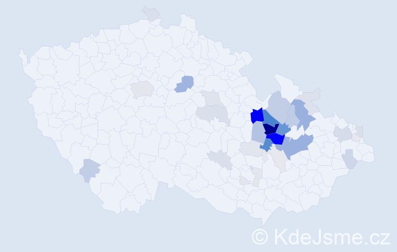 Příjmení: 'Helekalová', počet výskytů 110 v celé ČR